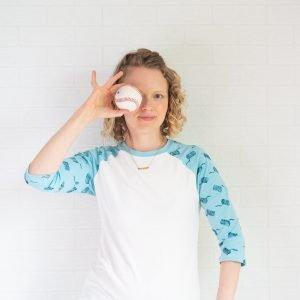 DIY raglan t-shirt on woman holding a baseball