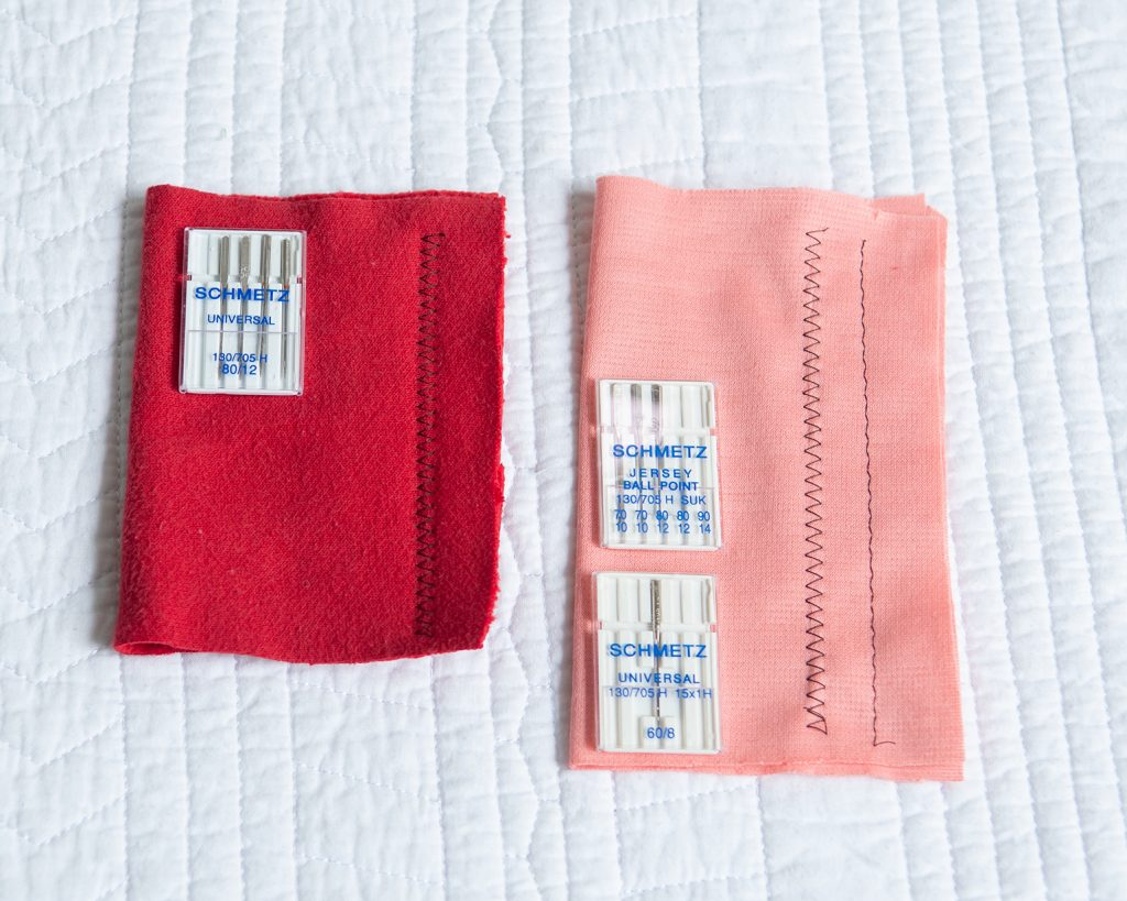 samples of sweatshirting and ponte fabrics with stitching and universal and ballpoint needles