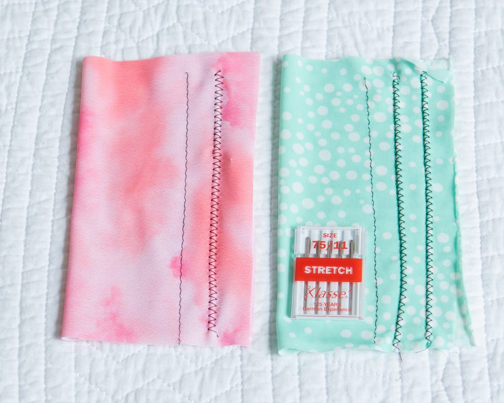 swimwear and ITY knit fabrics with stitch samples