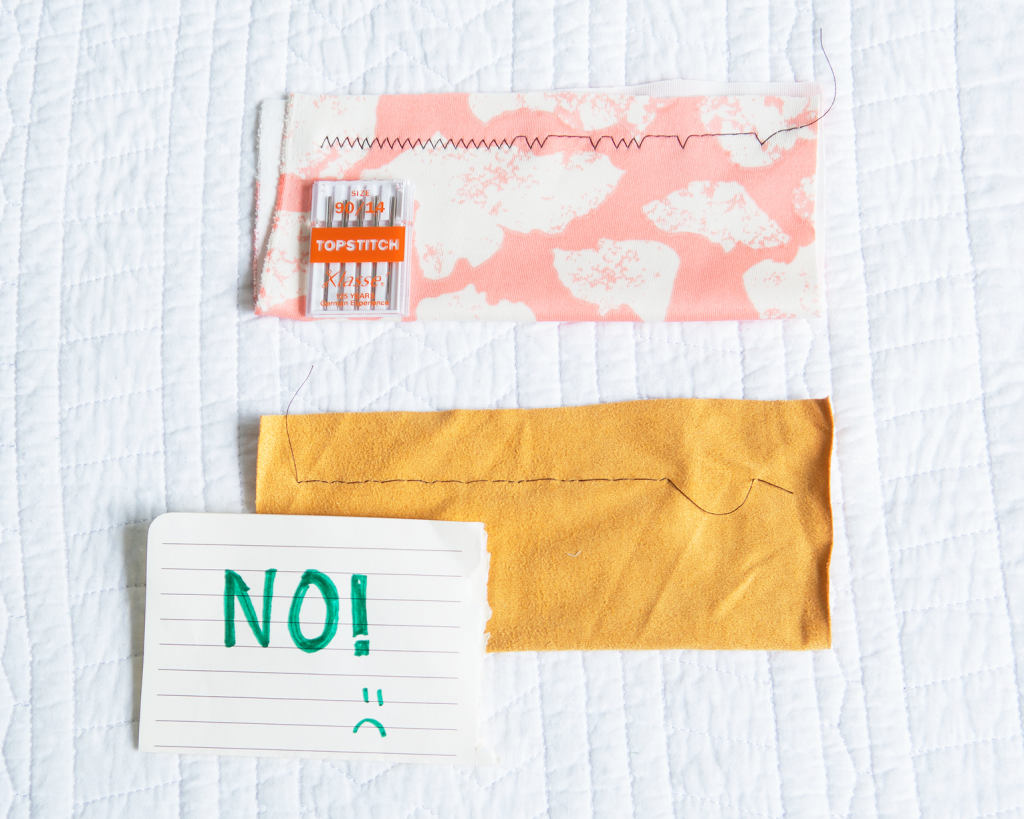 """image of topstitch needles and scuba and stretch suede samples with skipped stitches and a sign saying """"no!"""""""