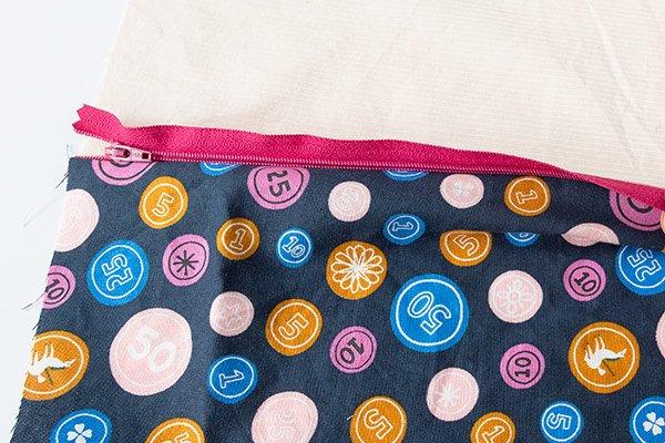 zipper sewn between fabric