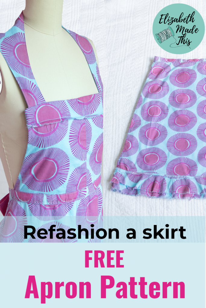 "Pinterest image reading ""refashion a skirt, free apron pattern"" image of apron made from a skirt on a dress form next to the original skirt"