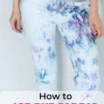 "pinterest image ""how to ice dye fabric"" showing closeup of ice dye jeans"