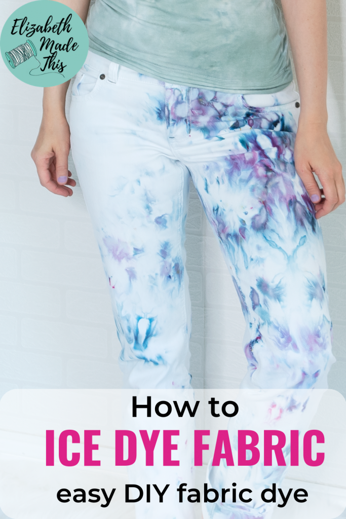 """pinterest image """"how to ice dye fabric"""" showing closeup of ice dye jeans"""