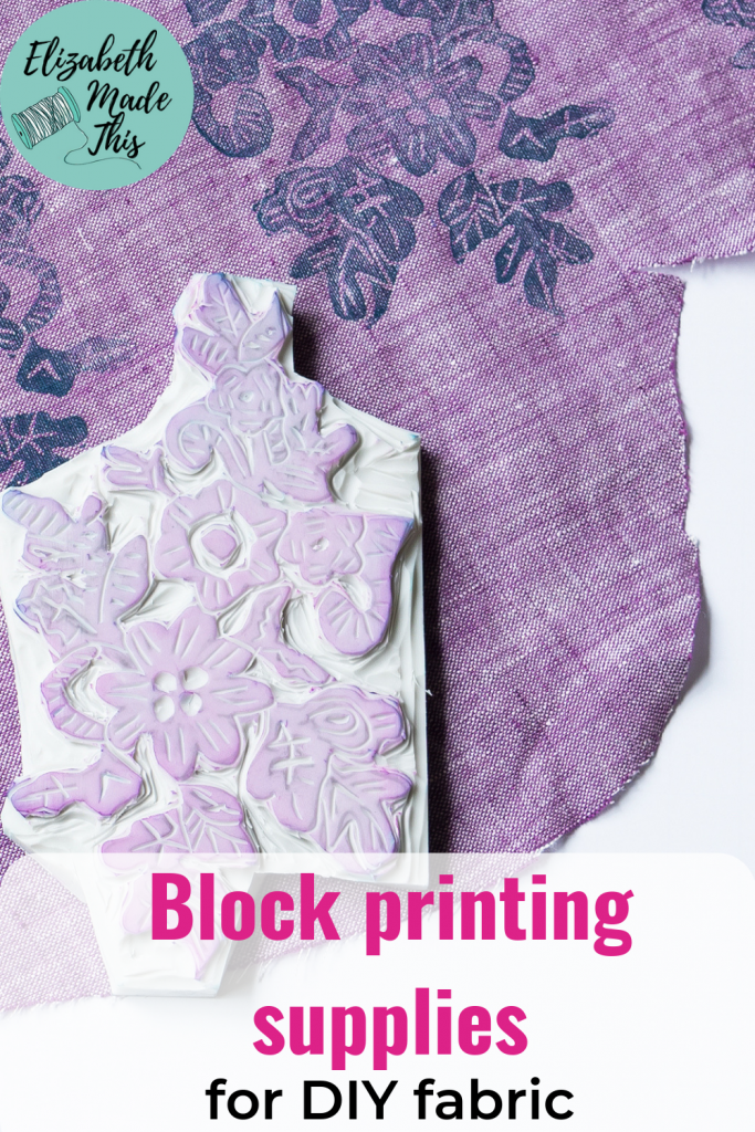 """Pinterest image reading""""Blockprinting supplies for DIY fabric"""" with image of carved block and fabric"""