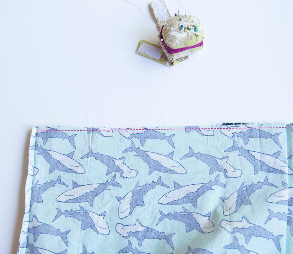 where to sew bottom seam of diy drawstring backpack