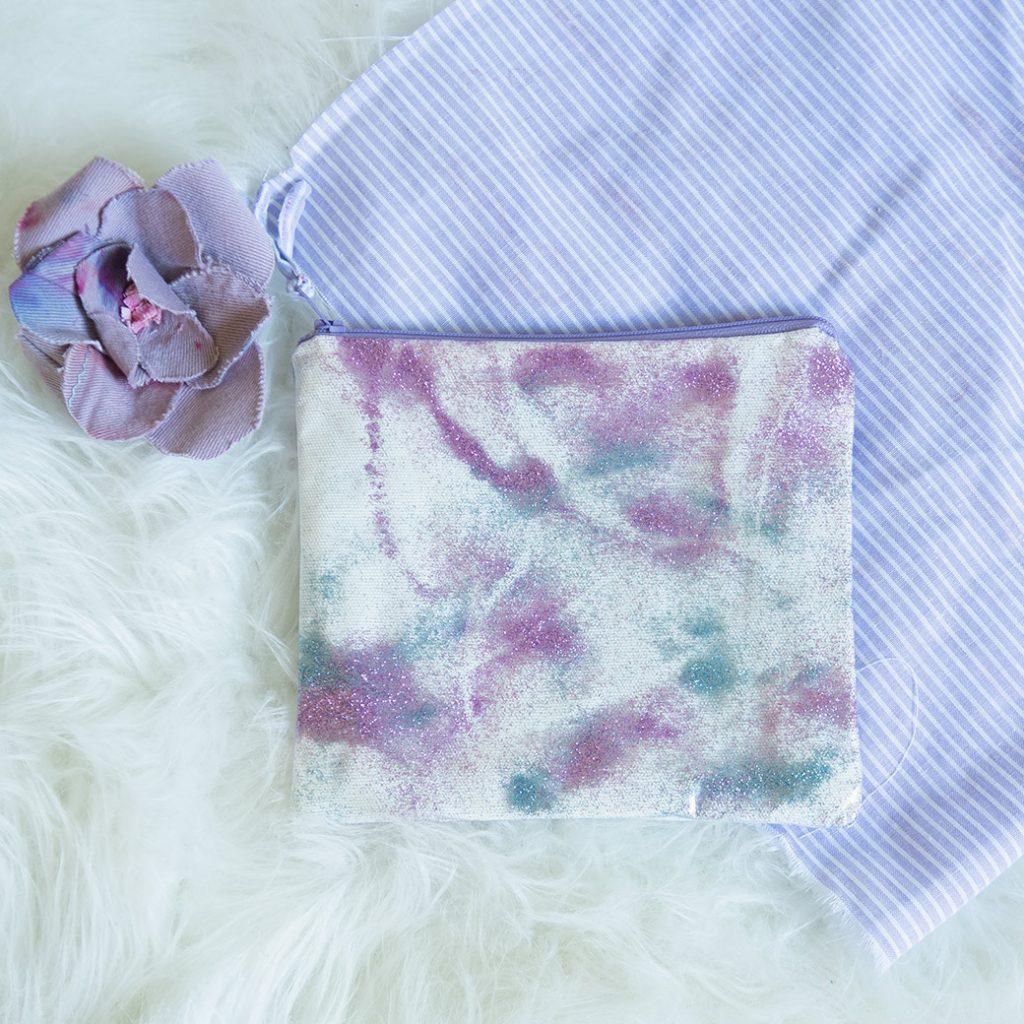 glitter vinyl zipper bag