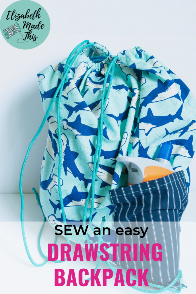 pinterest image: sew an easy drawstring backpack showing backpack with water bottle