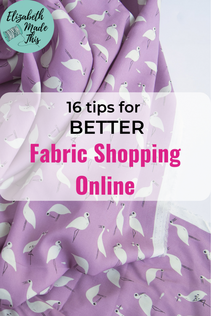 Pinterest image: 16 tips for better fabric shopping online with draped fabric