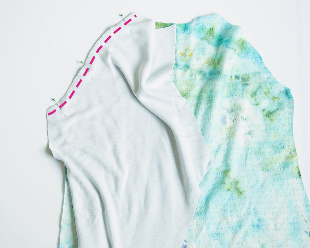 pinning sleeve to front on lace applique shirt