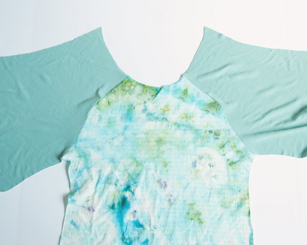 raglan sleeves sewn to t-shirt front