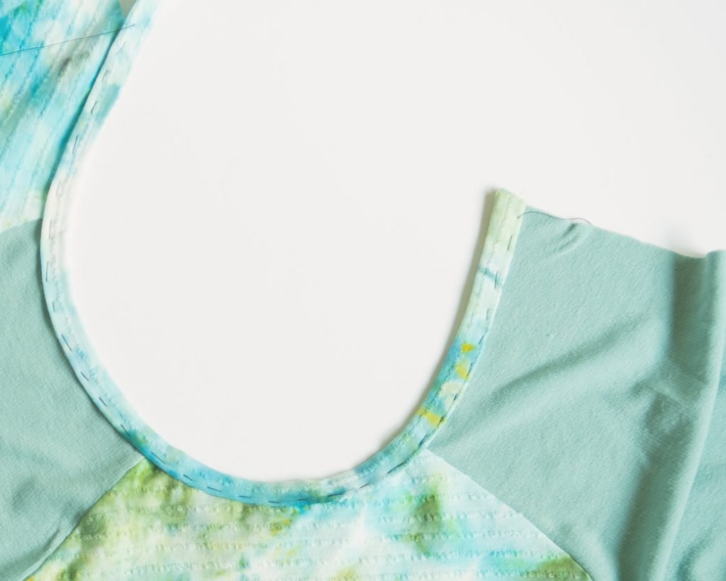 basted lace applique shirt neckline