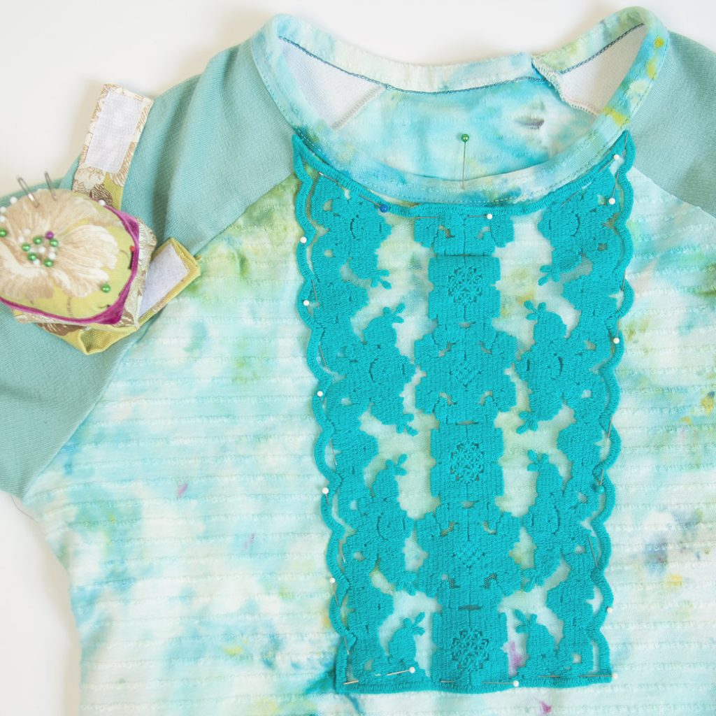 pinning lace applique to shirt