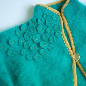 closeup of refashioned sweater