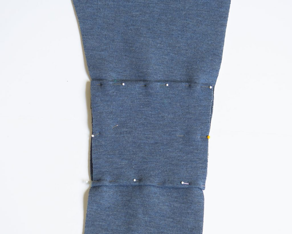 pinning before you sew knee patches
