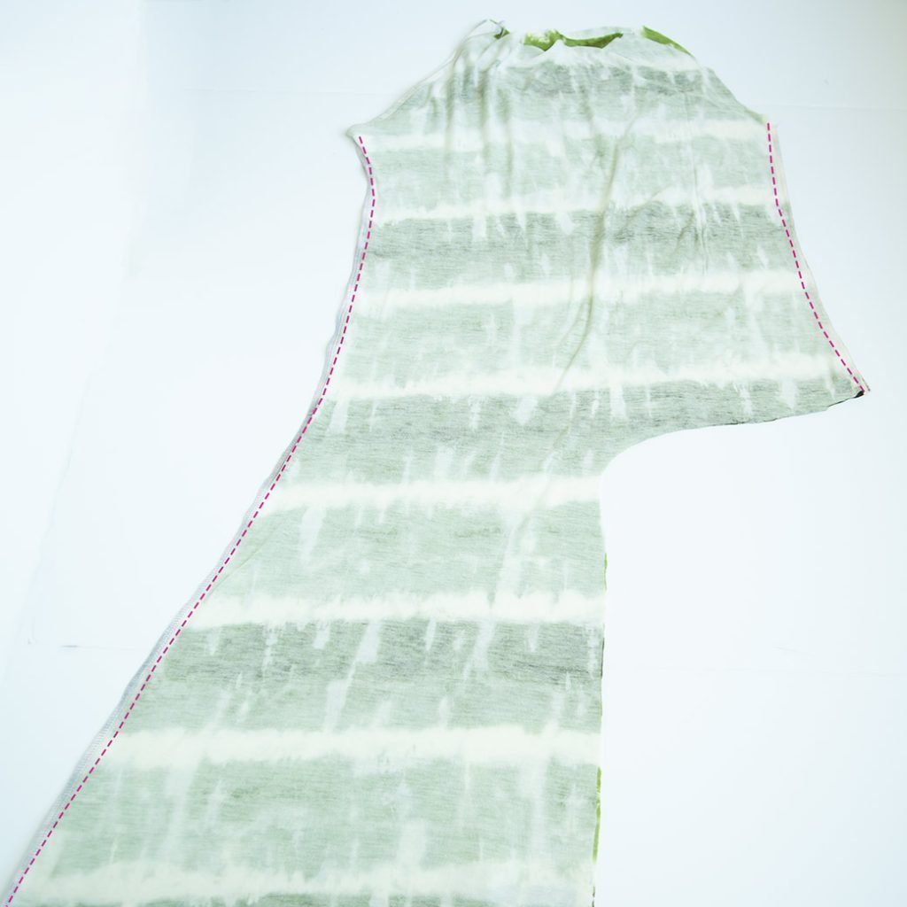 sewing side seams for a maxi dress refashion