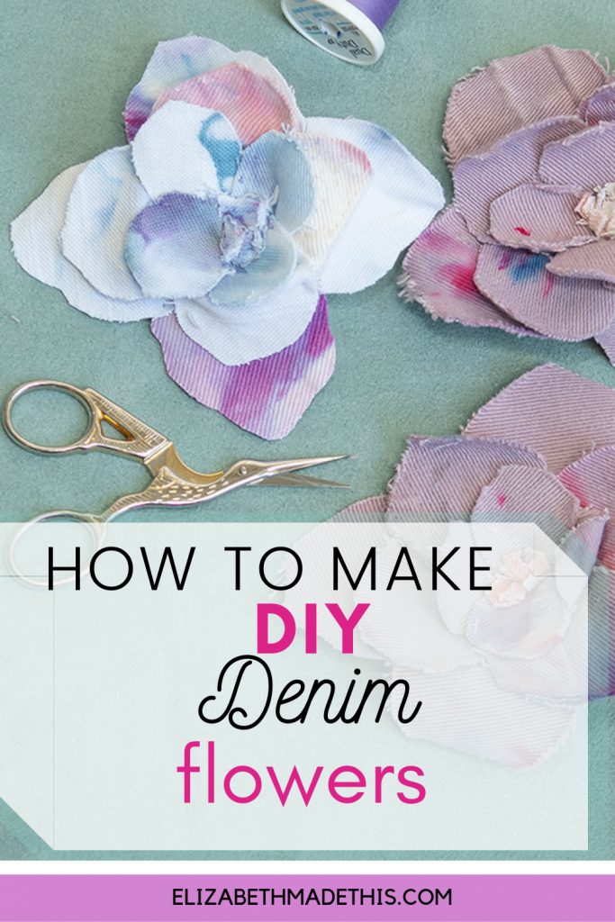 Pinterest image: how to make DIY denim flowers with scissors and flowers