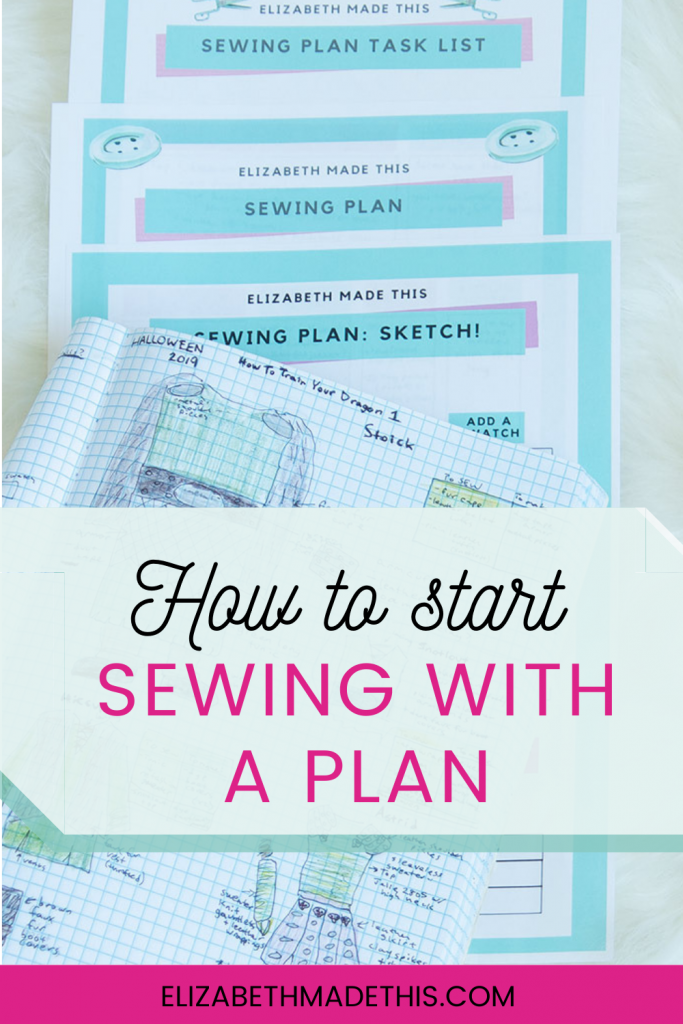 Pinterest image: sewing with a plan with sketches and sewing planner pages