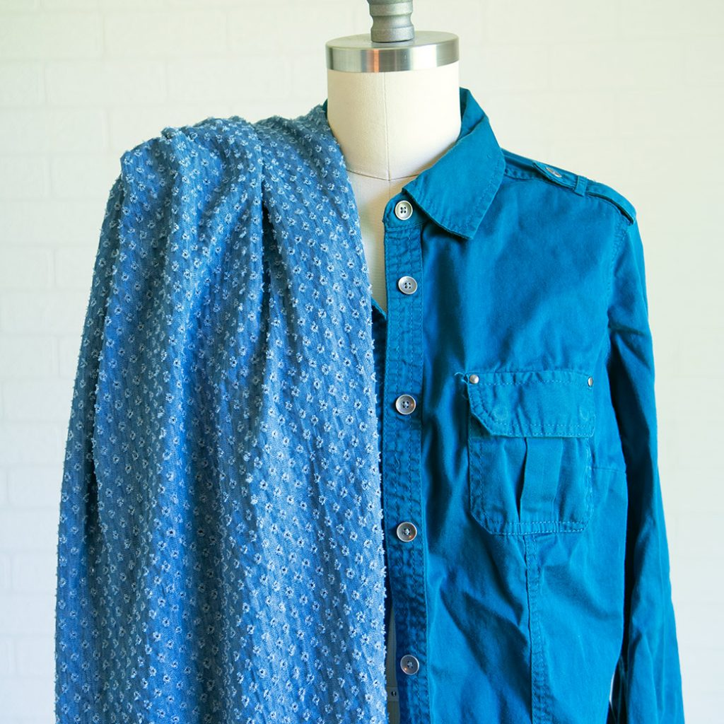 sewing supplies at thrift stores: buttons on an old shirt