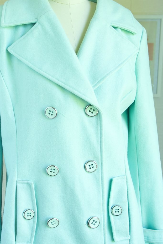 wool coat with buttons thrift store sewing supplies