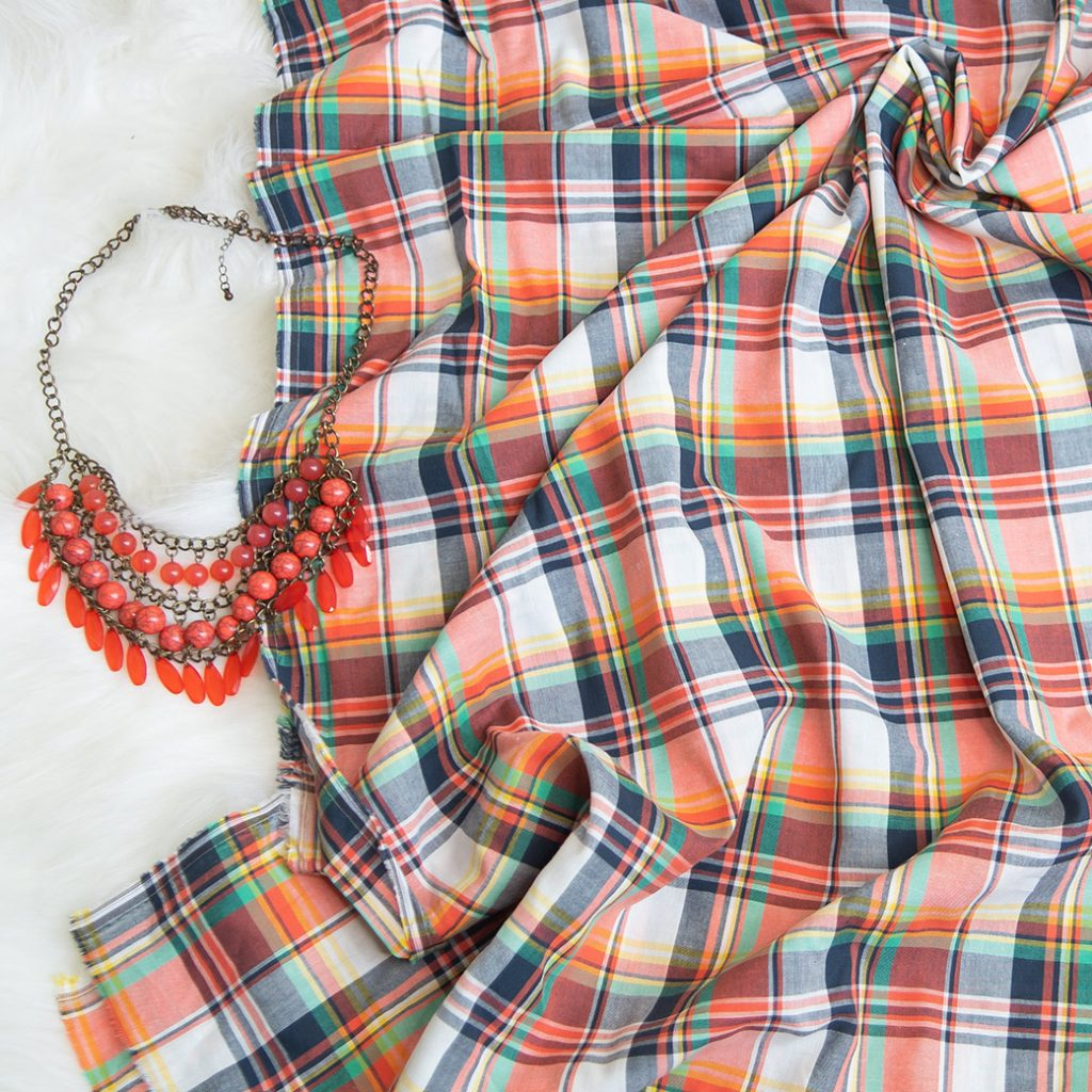 plaid fall fabric and necklace