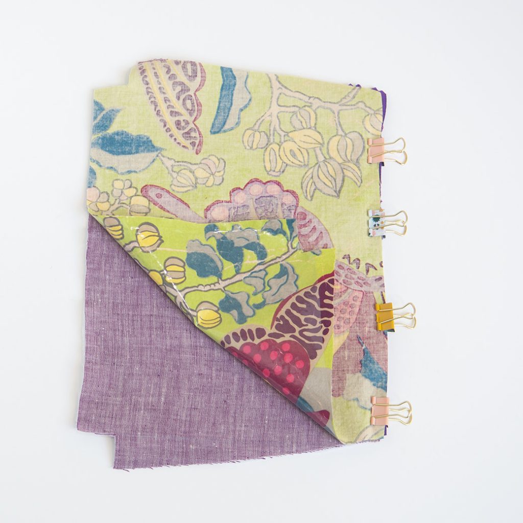 sewing laminated fabrics: using clips to hold layers together