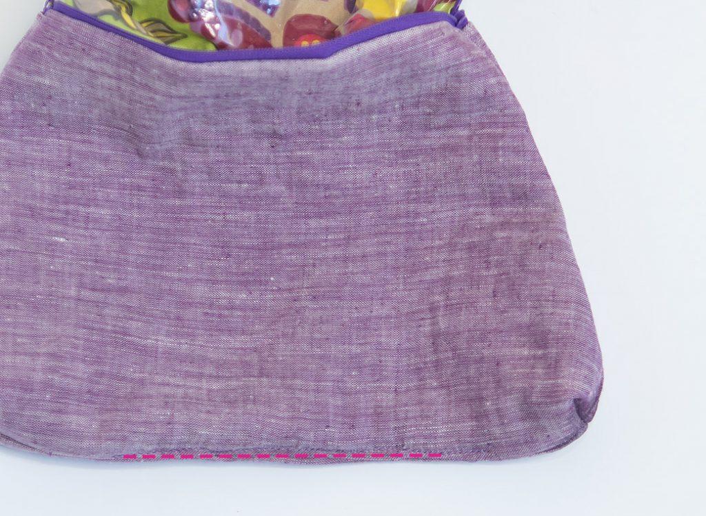 sewing hole in lining on a DIY waterproof zipper bag