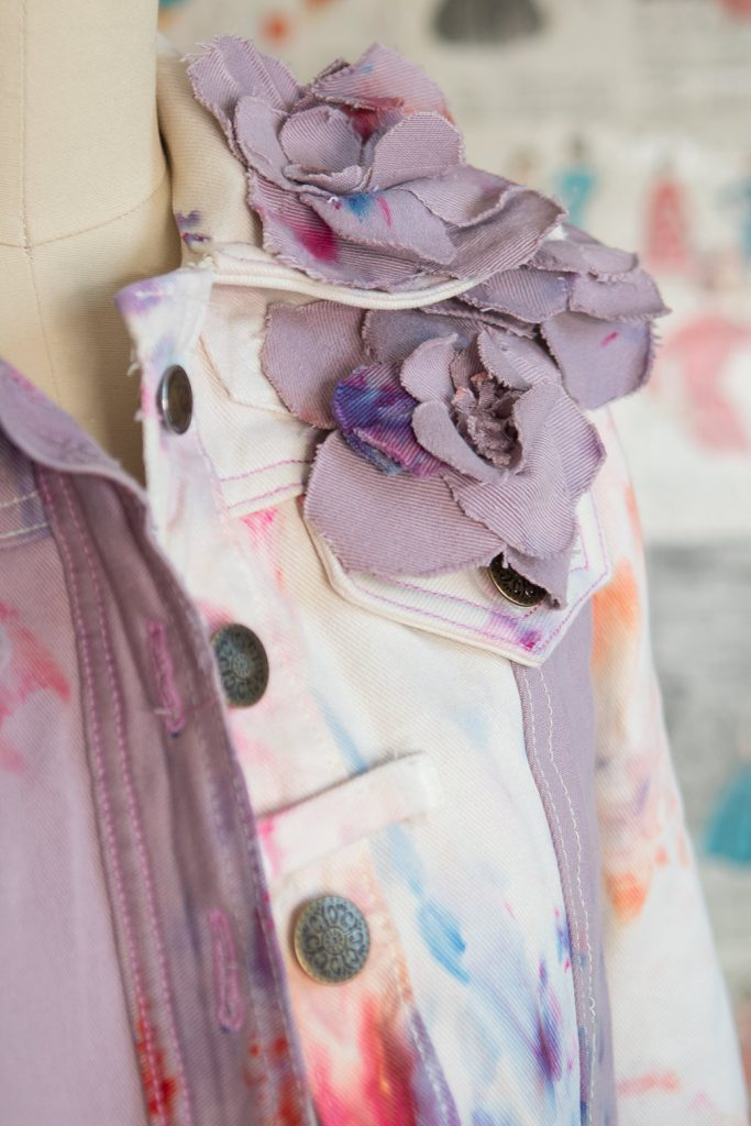 diy denim flowers on refashioned denim jacket