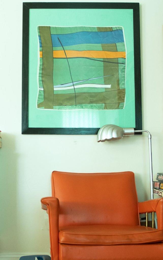 framed silk scarf and chair