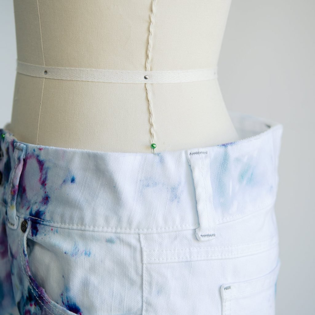 how to resize jeans waist: anchoring waist to dress form