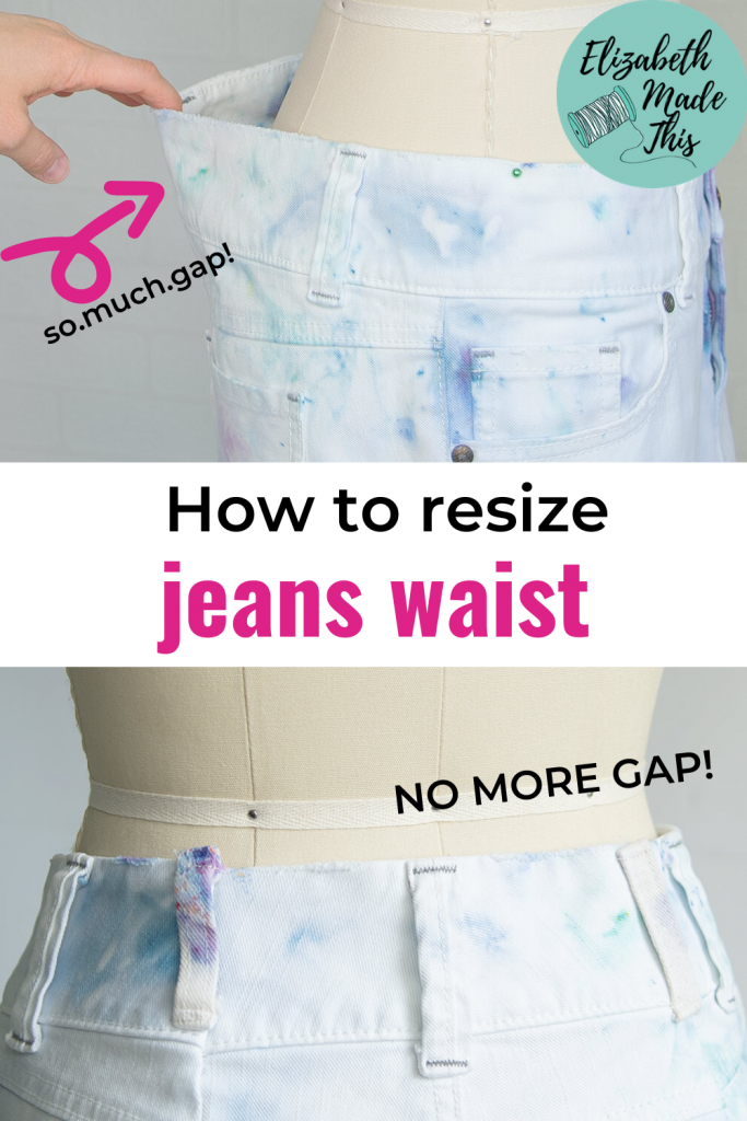 Pinterest image: how to resize jeans waist with before and after pictures