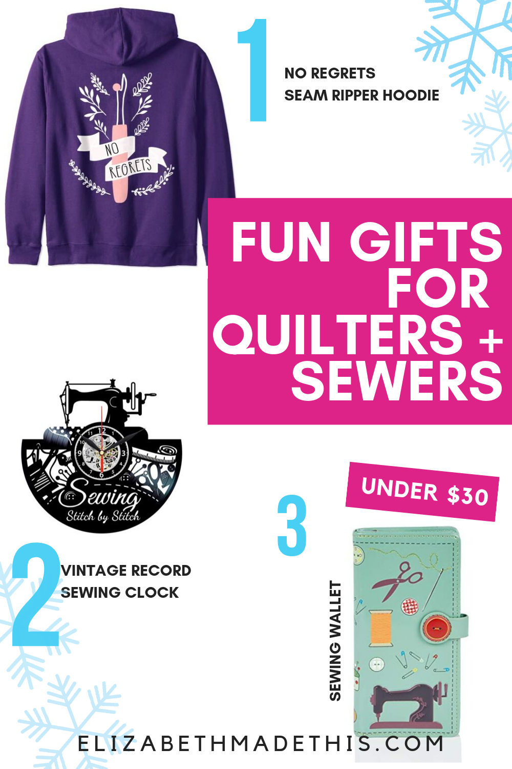 Pinterest image: Fun gifts for quilters and sewers with images of sewing gifts