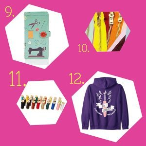 Fun gifts for sewers and quilters $30 and under with sewing wallet, jeans zippers, thread assortment and seam ripper graphic hoodie