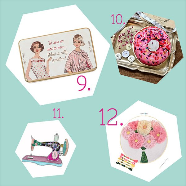 gifts for sewing lovers collage with Simplicity vintage travel sewing kit, donut pincushion, enamel sewing machine brooch, and floral embroidery kit