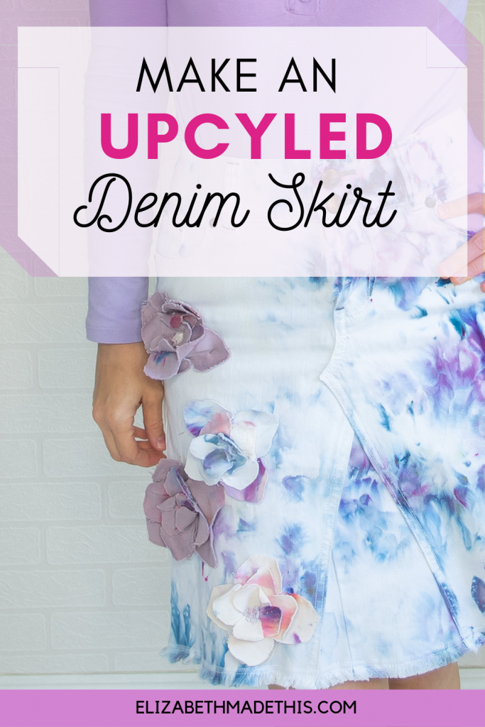 "Pinterest image: ""make an upcycled denim skirt"" with finished upcycled denim skirt picture"