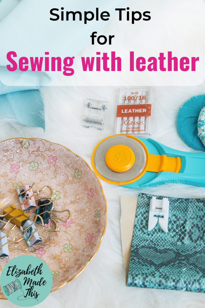 Pinterest image: simple tips for sewing with leather with assorted leather tools
