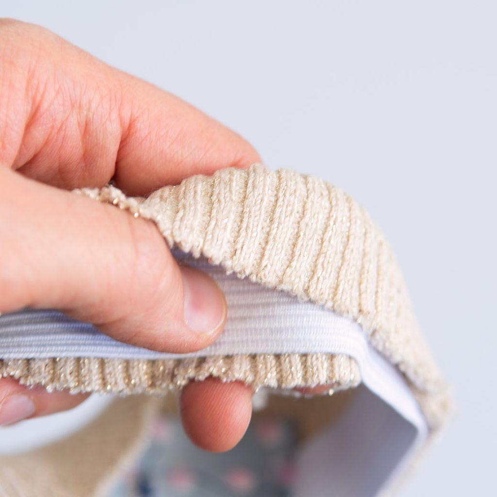 slip elastic inside of rib knit for DIY boot covers