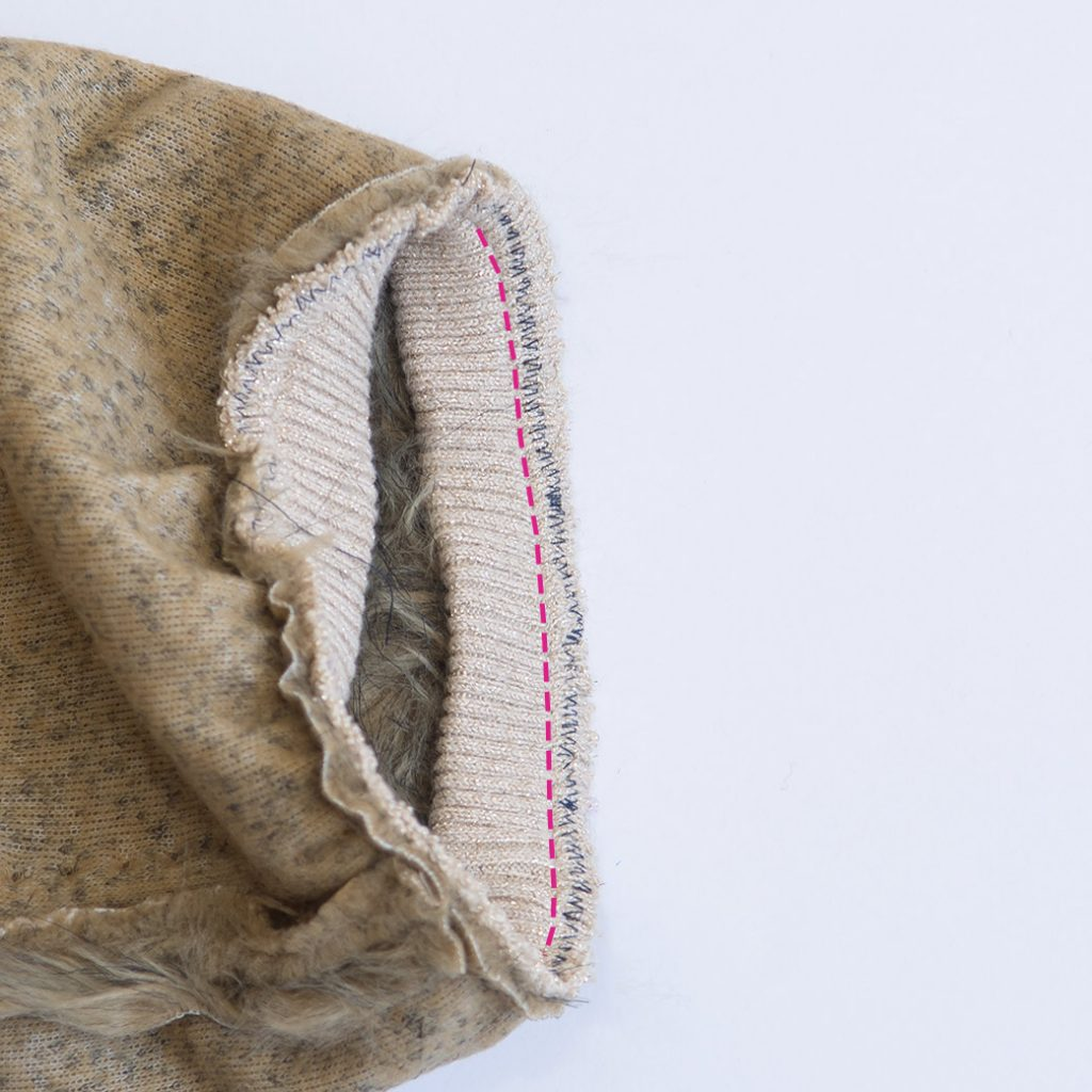 adding rib knit + elastic to faux fur to make DIY boot covers