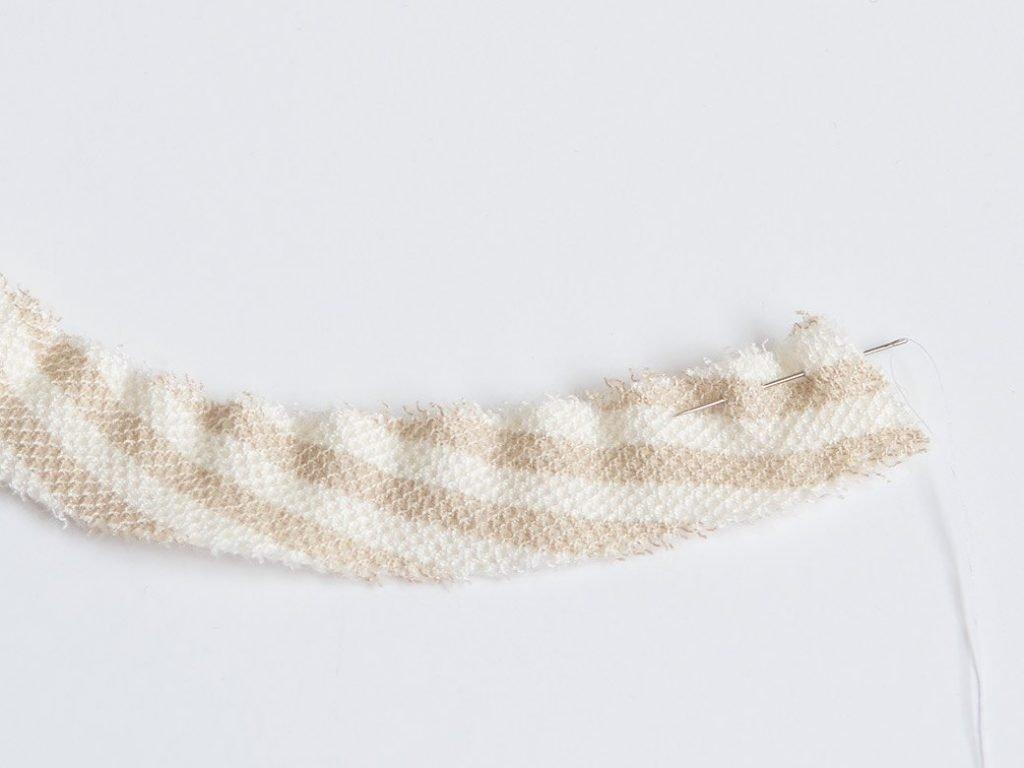 striped fabric cut for a fabric pinwheel