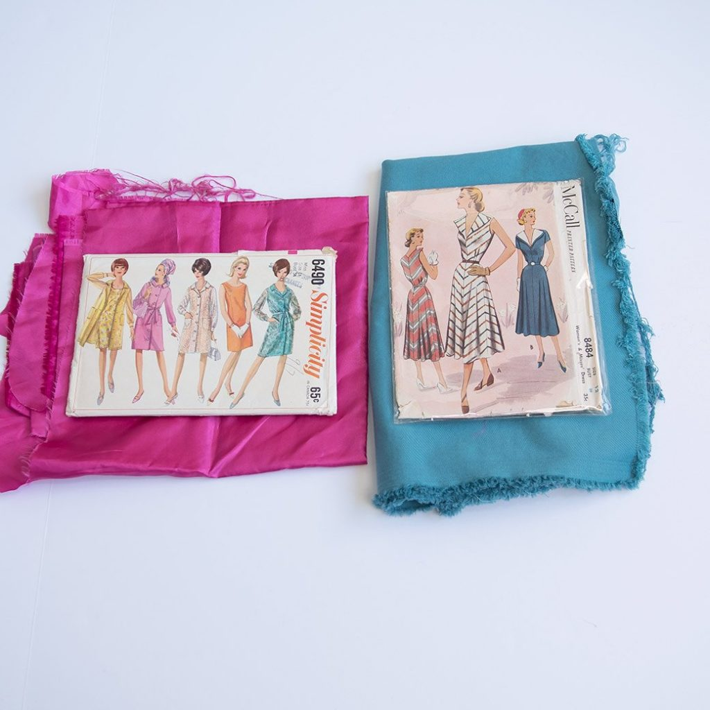 vintage sewing patterns and fabric
