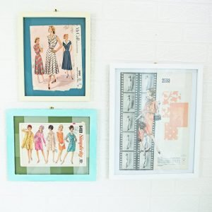 collection of vintage sewing pattern sewing room decor