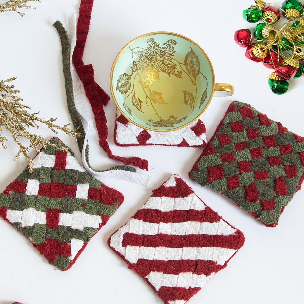 DIY woven mug rugs