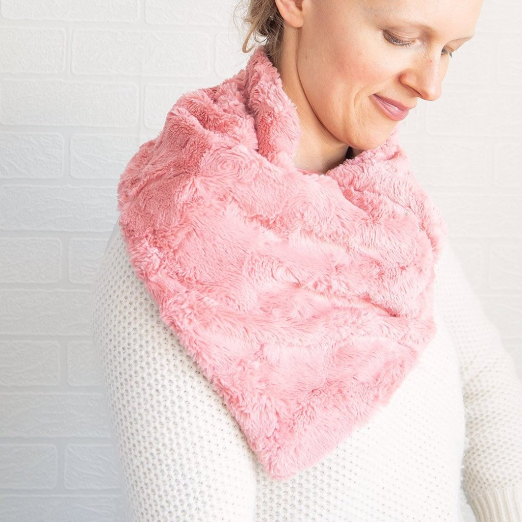 DIY neck warmer worn draped over right shoulder