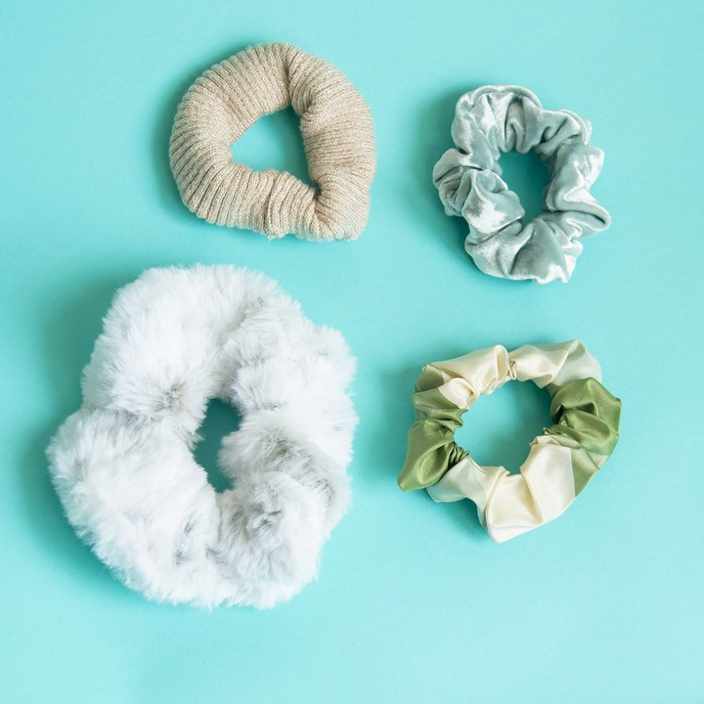 scrunchies from different fabrics