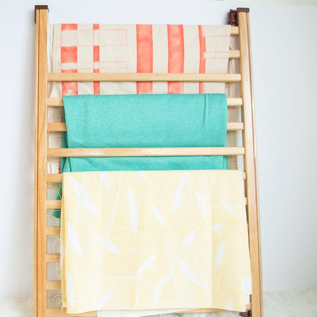 crib side for fabric storage