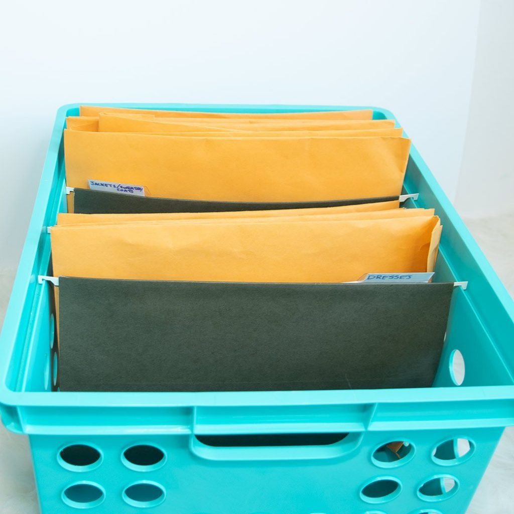 sewing pattern storage: manila envelopes in crate