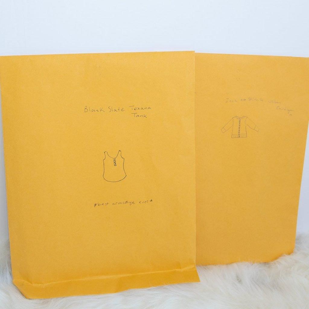 manila envelopes for sewing pattern storage