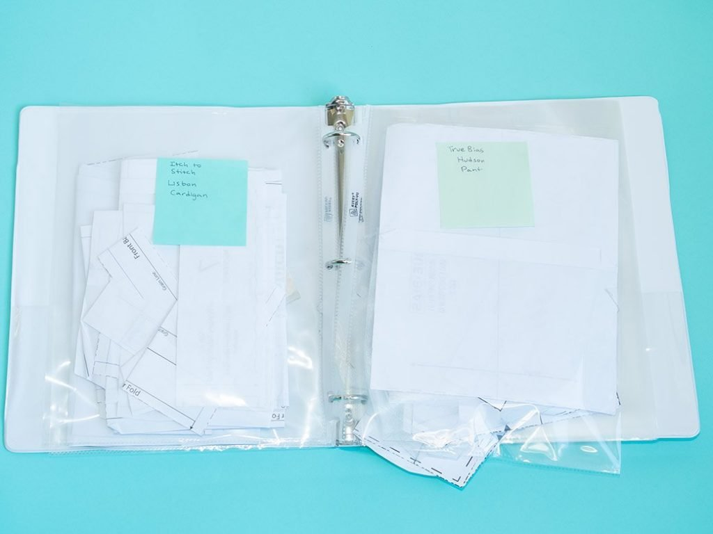 pdf patterns in clear sleeves