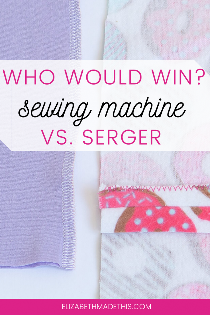 "Pinterest image: ""who would win? sewing machine vs. serger"" with seams sewn with both machines"