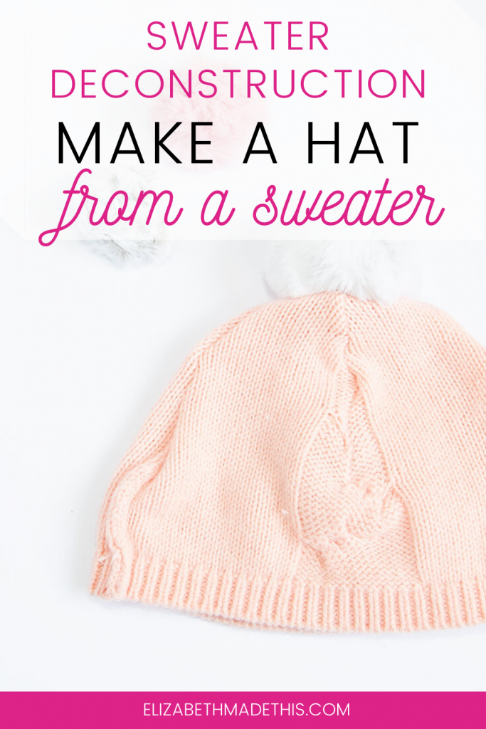 Pinterest image: make a hat from a sweater with a DIY sweater hat